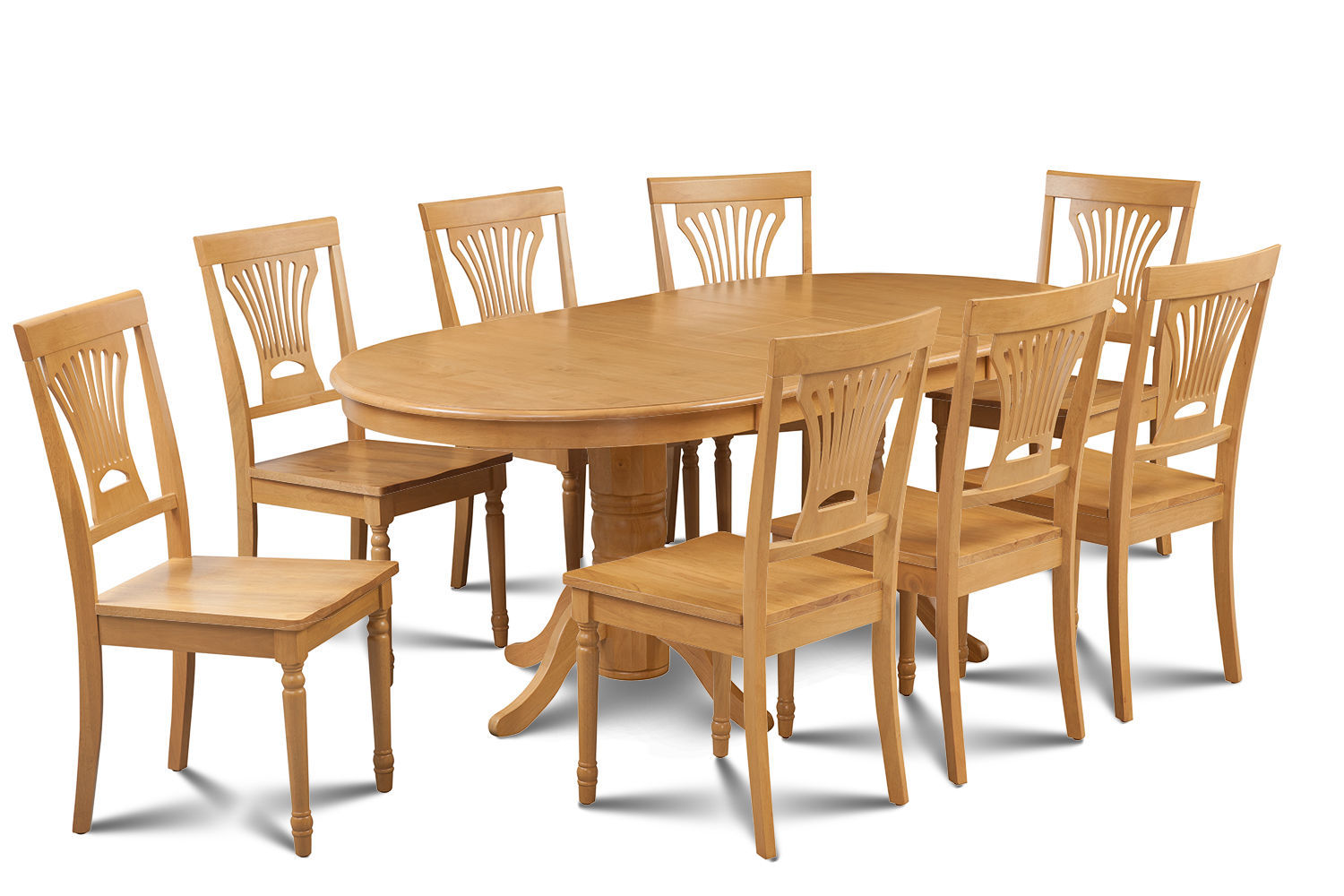 9 PIECE OVAL DINING ROOM TABLE SET w/ 8 WOODEN CHAIRS IN OAK FINISH