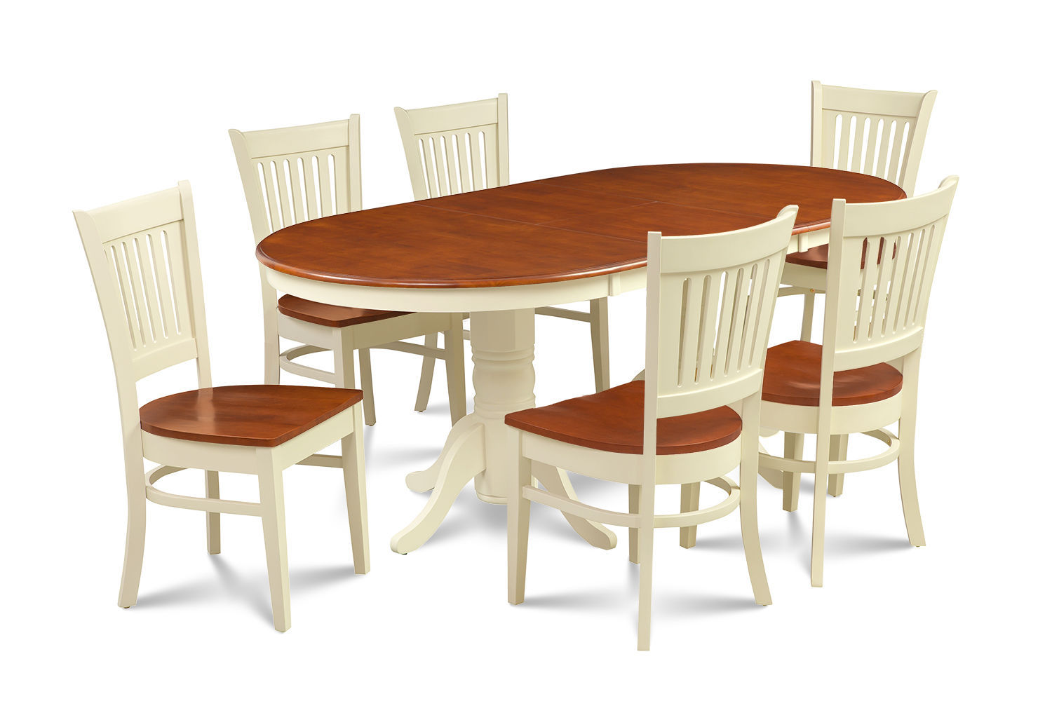 """7 PC OVAL DINING ROOM SET 42""""x78"""" TABLE & 6 WOODEN CHAIRS IN BUTTERMILK & CHERRY"""