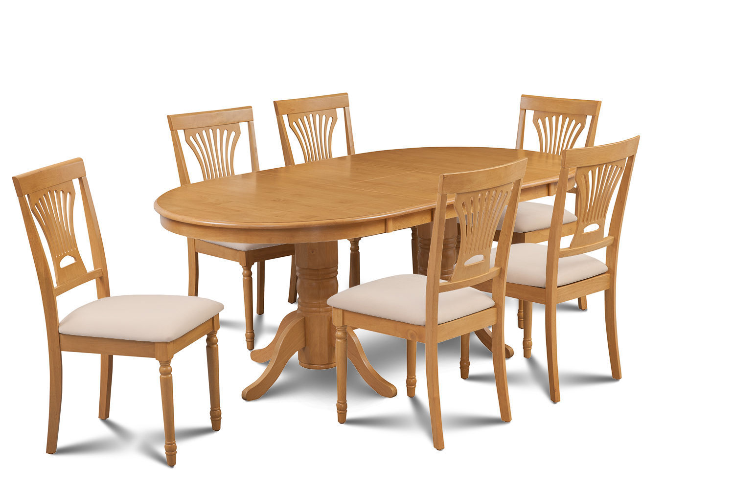 7 PIECE OVAL DINING ROOM TABLE SET w/ 6 SOFT-PADDED CHAIRS IN OAK FINISH