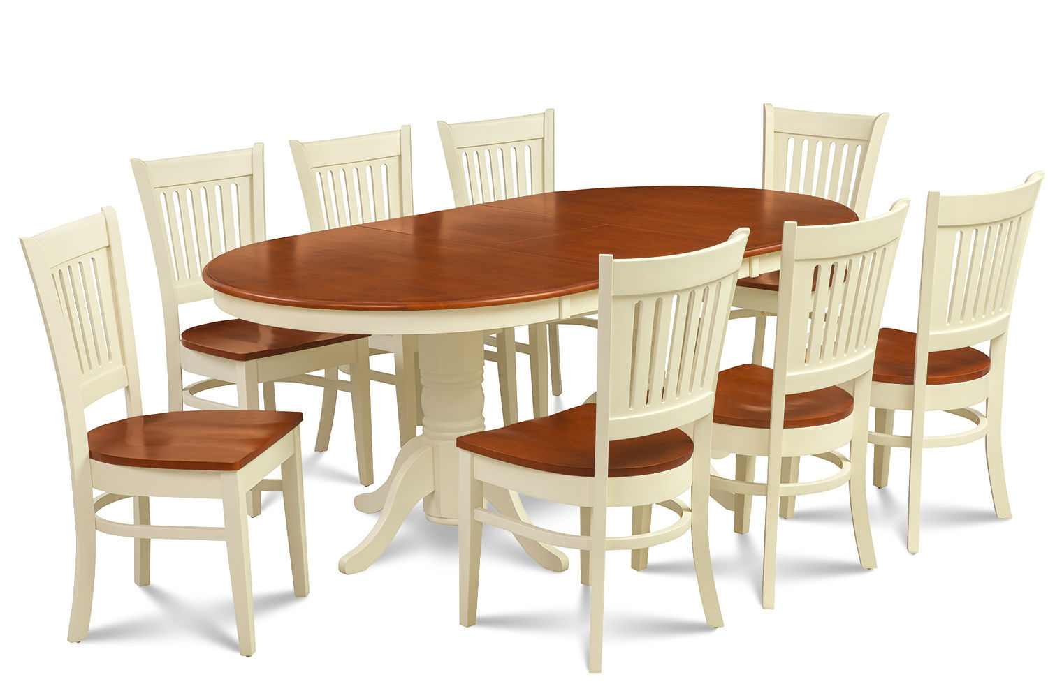 9 piece oval dining room table set w 8 wooden chair in for Jardin 8 piece dining set