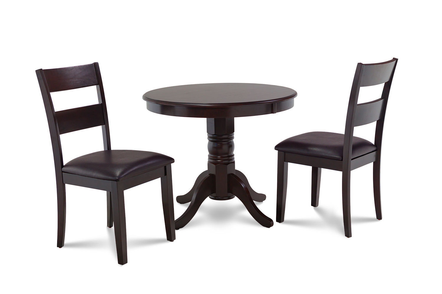 3 PIECE ROUND DINETTE KITCHEN TABLE DINING SET LEATHER SEAT CHAIRS IN CAPPUCCINO