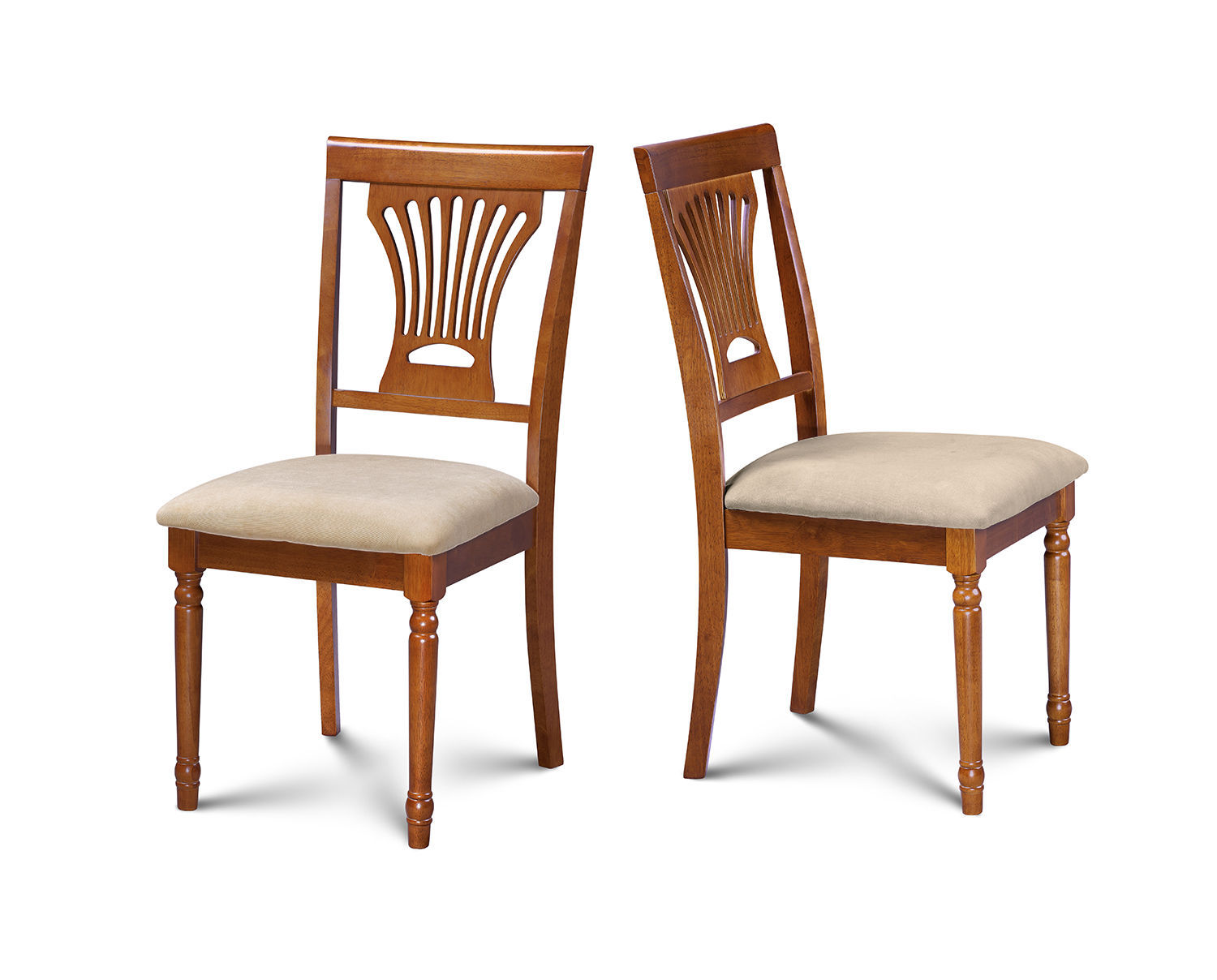 SET OF 2 DINING SIDE CHAIR WITH PADDED SEATS IN SADDLE BROWN