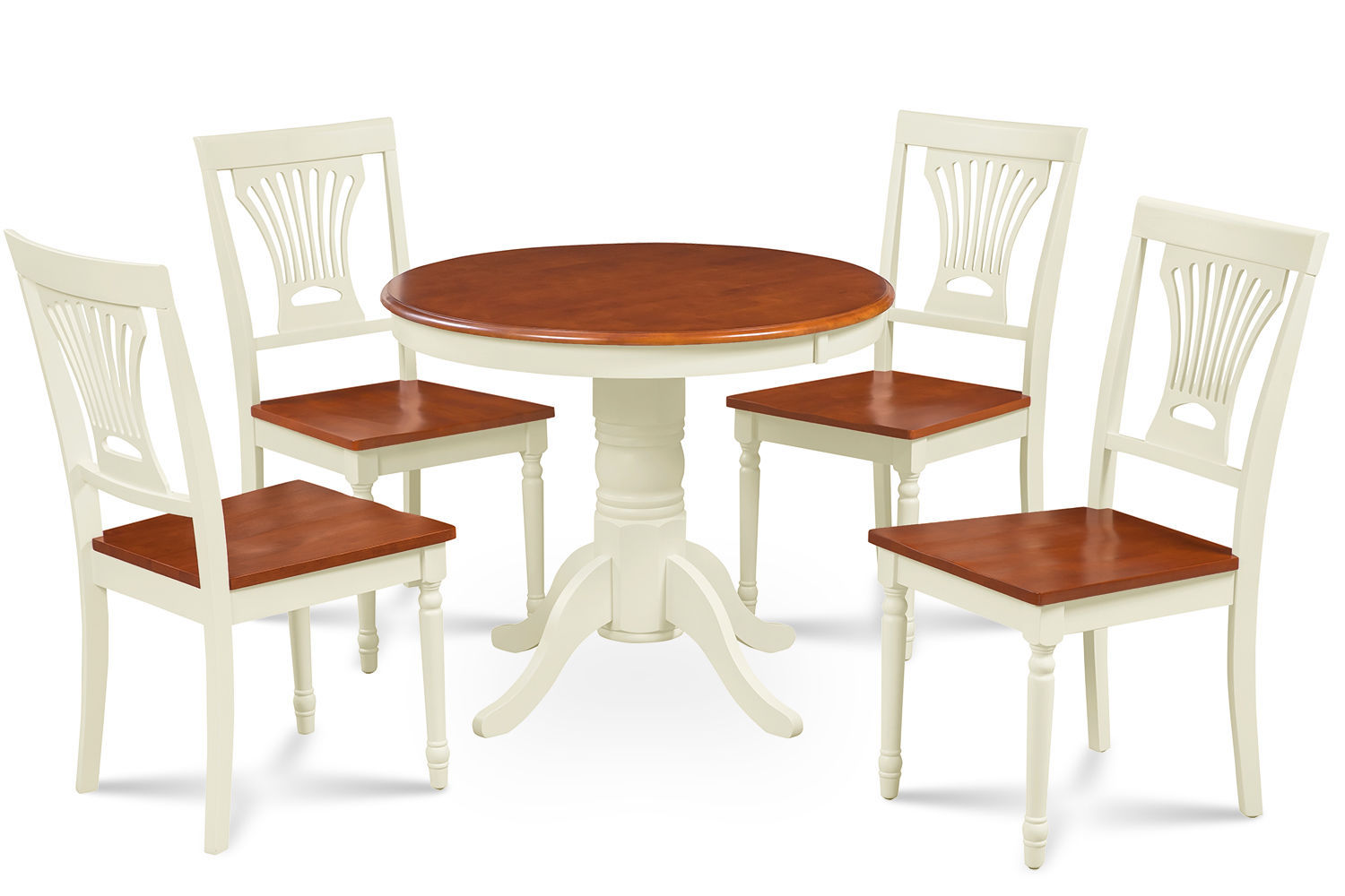 """36"""" BROOKLINE DINETTE DINING ROOM TABLE SET IN BUTTERMILK & CHERRY"""