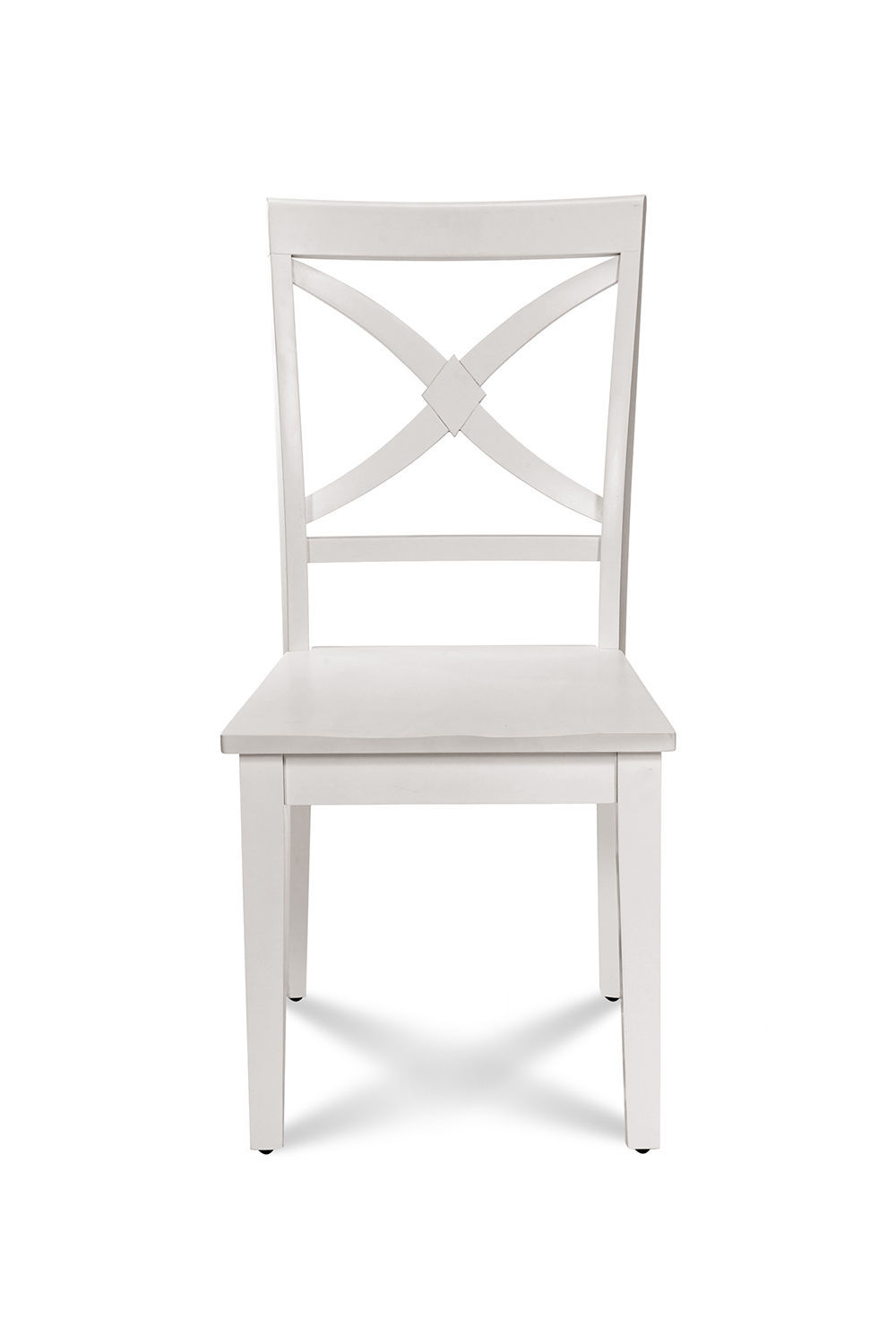 SET OF 4 KITCHEN DINING SIDE CHAIRS w/ WOODEN SEAT IN  WHITE FINISH