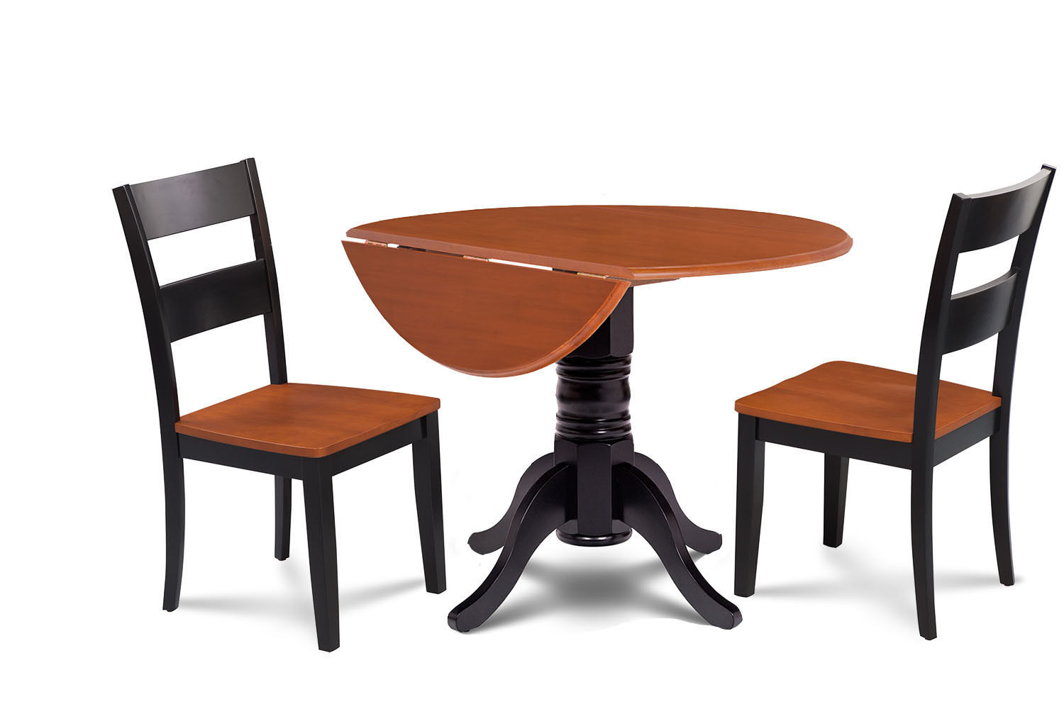 """42"""" BURLINGTON DINETTE DINING TABLE SET WOODEN SEAT CHAIRS IN BLACK CHERRY"""