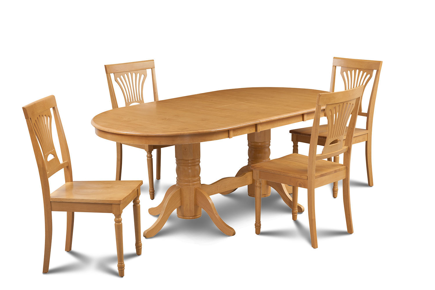 5 PIECE OVAL DINING ROOM TABLE SET w/ 4 WOODEN CHAIRS IN OAK FINISH