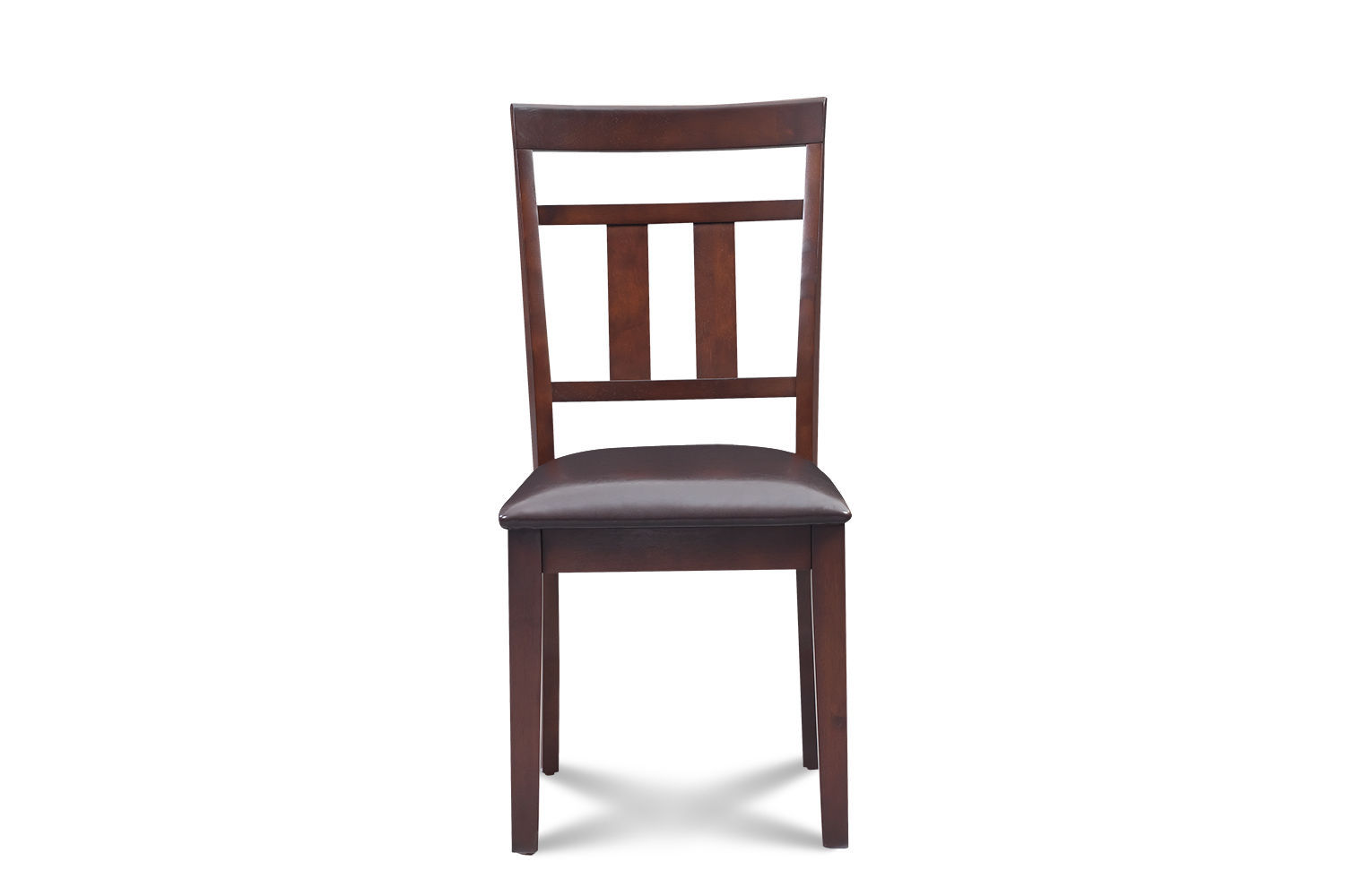 SET OF 2 KITCHEN DINING SIDE CHAIRS w/ FAUX SEATS IN MAHOGANY FINISH
