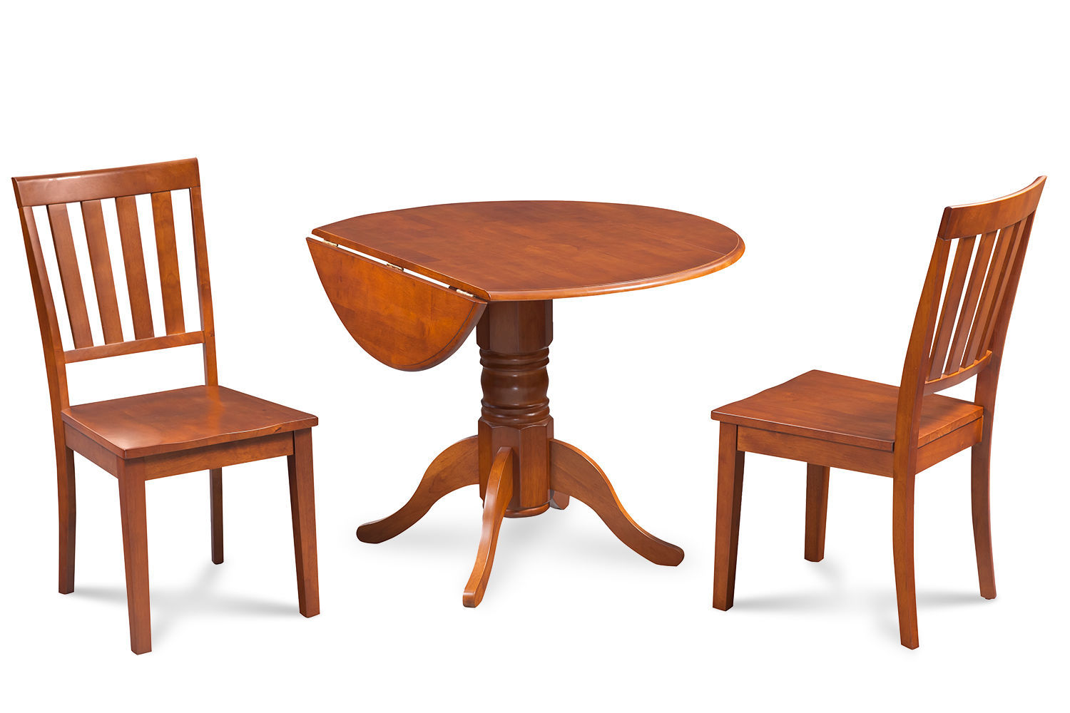 """42"""" BURLINGTON DINETTE DINING TABLE SET WOODEN SEAT CHAIRS SADDLE BROWN"""
