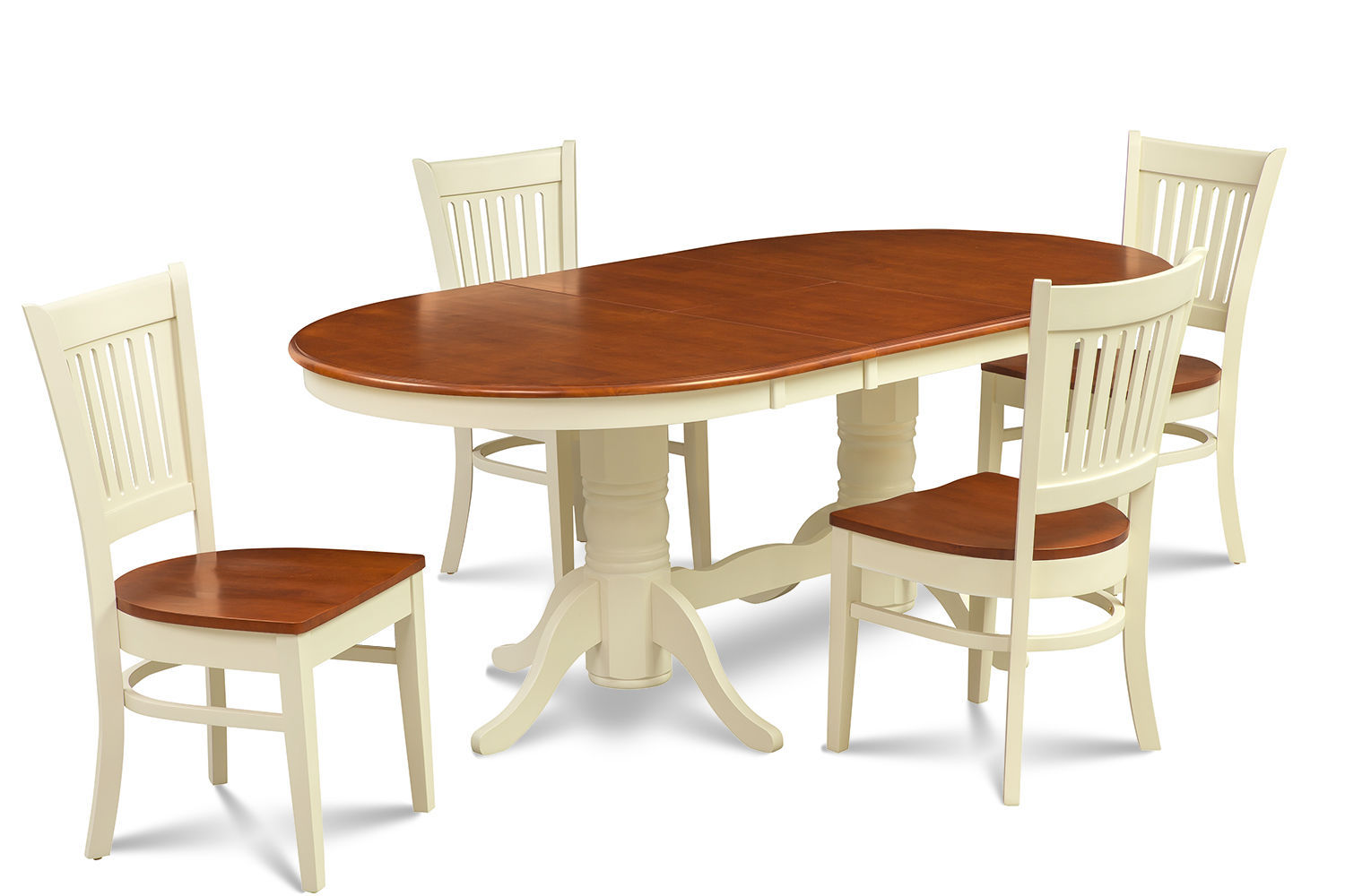 5 PIECE OVAL DINING ROOM TABLE SET w/ 4 WOODEN CHAIR IN BUTTERMILK & CHERRY