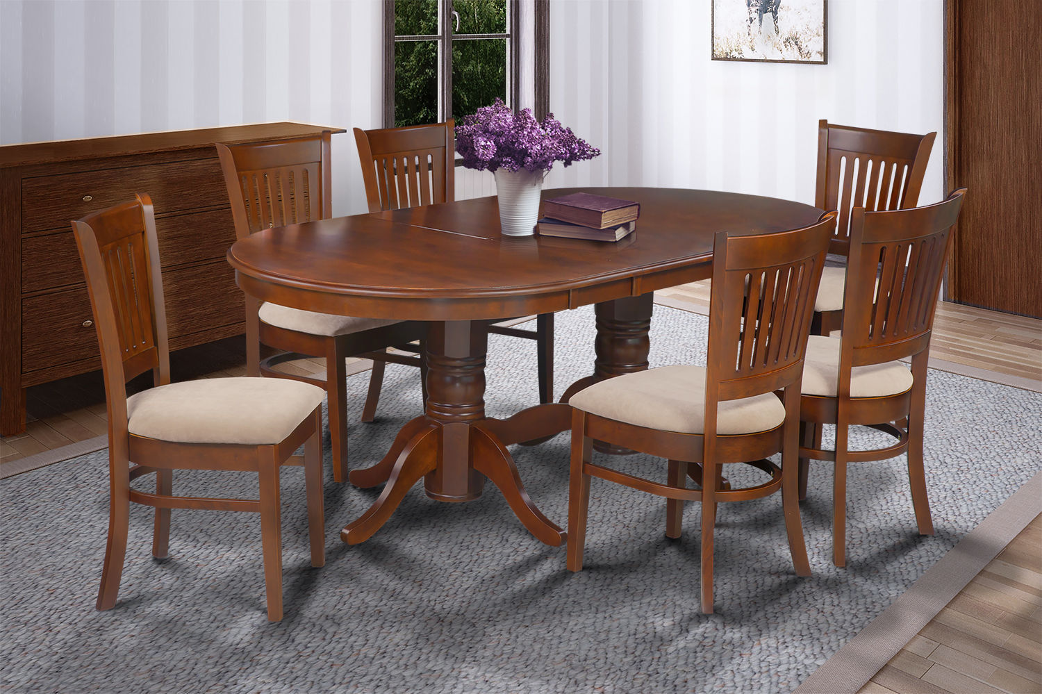 """9 PC  OVAL DINETTE KITCHEN DINING ROOM SET 42""""x78"""" TABLE & 8 CHAIRS IN ESPRESSO"""