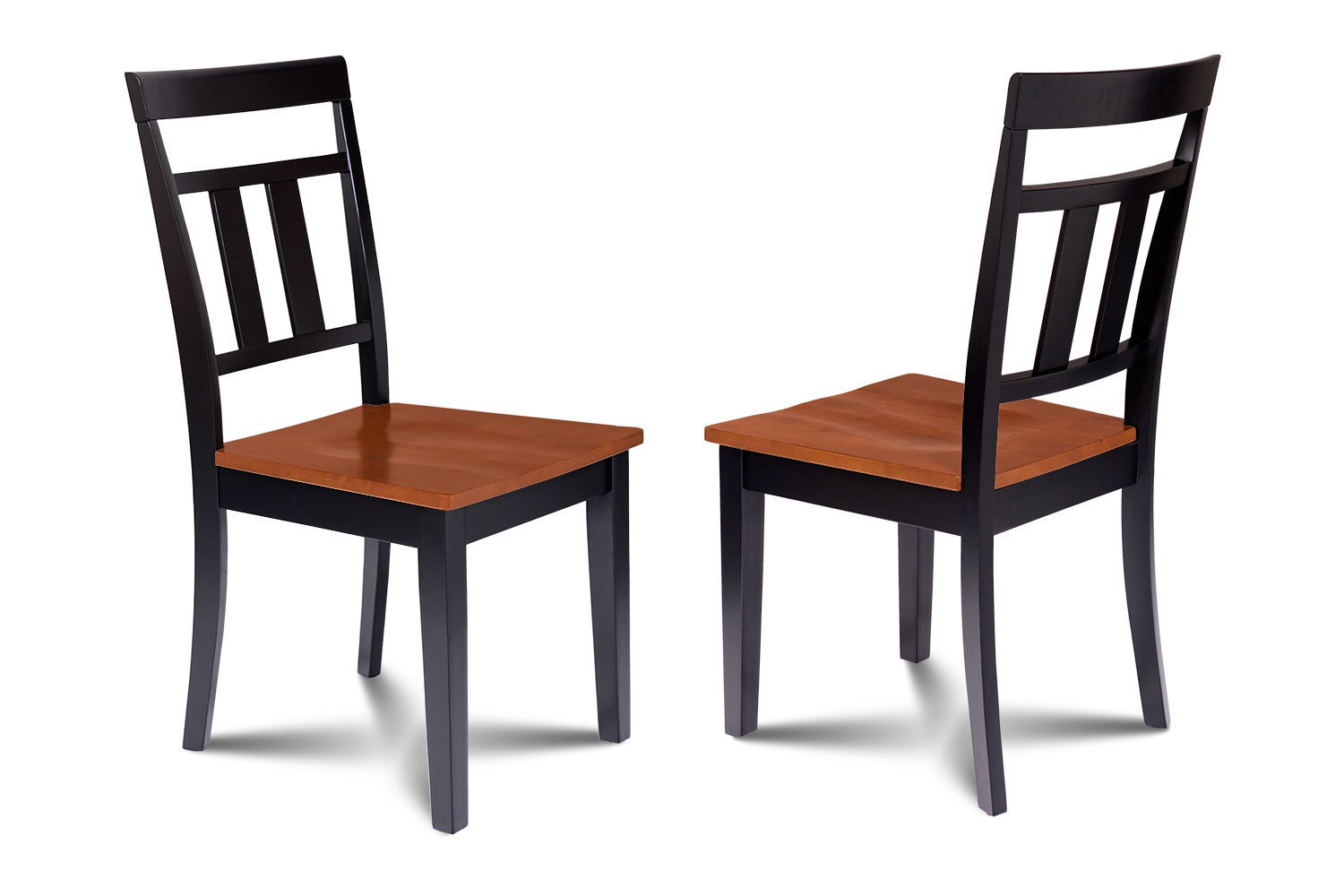 """38"""" x 66"""" DINING ROOM TABLE SET W/. 18"""" LEAF & WOODEN CHAIRS IN BLACK & CHERRY"""