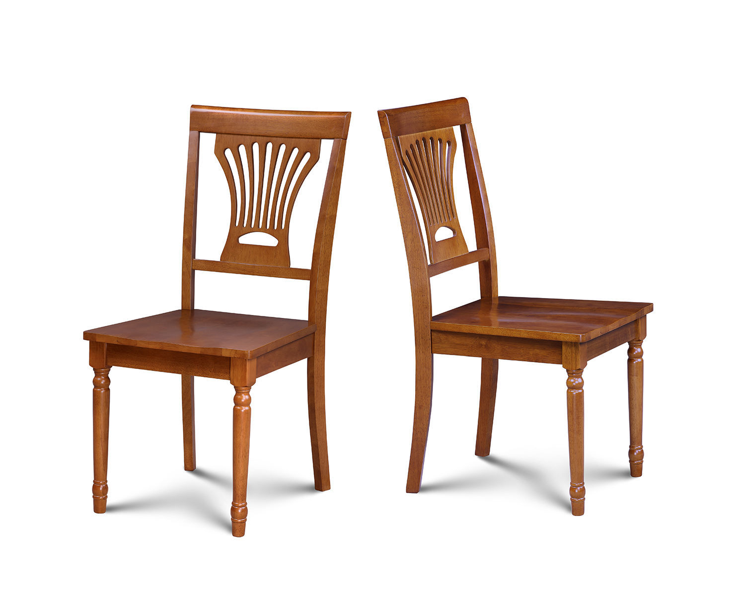 SET OF 2 DINING SIDE CHAIR WITH WOODEN SEAT IN SADDLE  BROWN