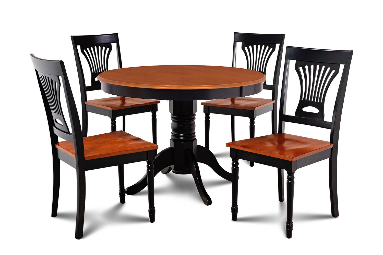 "36"" ROUND TABLE DINETTE KITCHEN TABLE DINING CHAIRS SET  IN BLACK CHERRY"