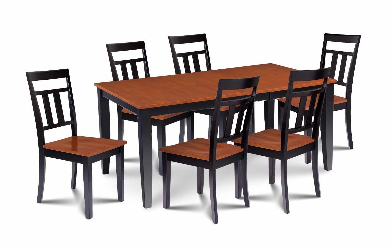 "38"" x 66"" DINING ROOM TABLE SET WITH 18"" LEAF, WOOD SEATS IN BLACK & CHERRY"