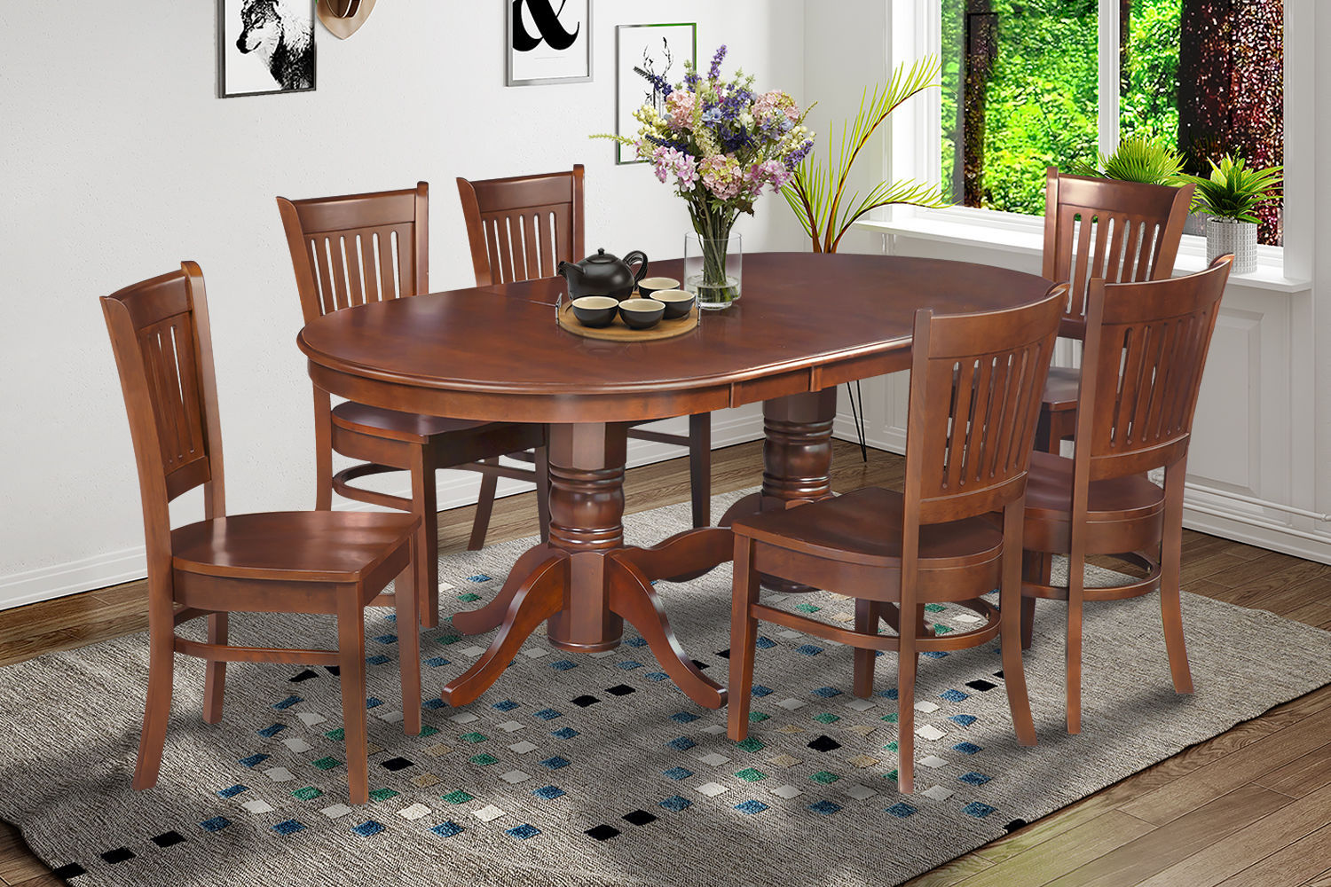 """7 Pc  Oval Dinette Kitchen Dining Room Set 42""""x78"""" Table & 6 Padded Seat Chairs"""