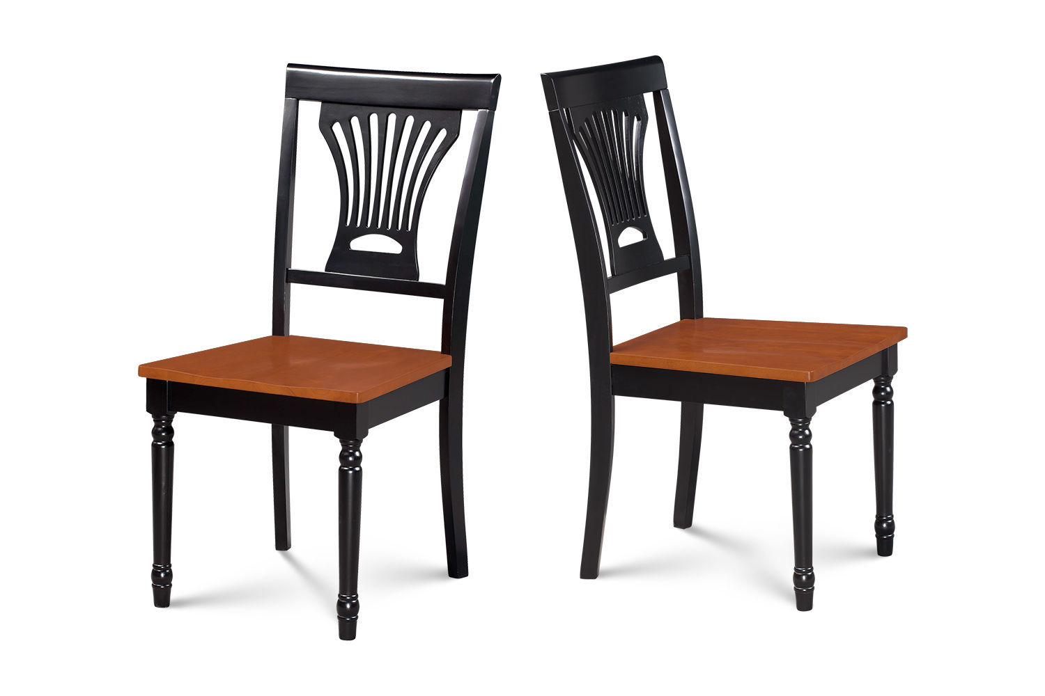SET OF 2 DINING SIDE CHAIR WITH WOODEN SEATS in BLACK & CHERRY FINISH
