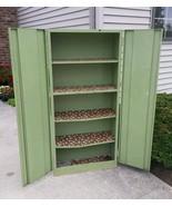 Vtg Steampunk STEEL Metal Storage Cabinet Utility Garage 70s Green 63 inch - $95.79