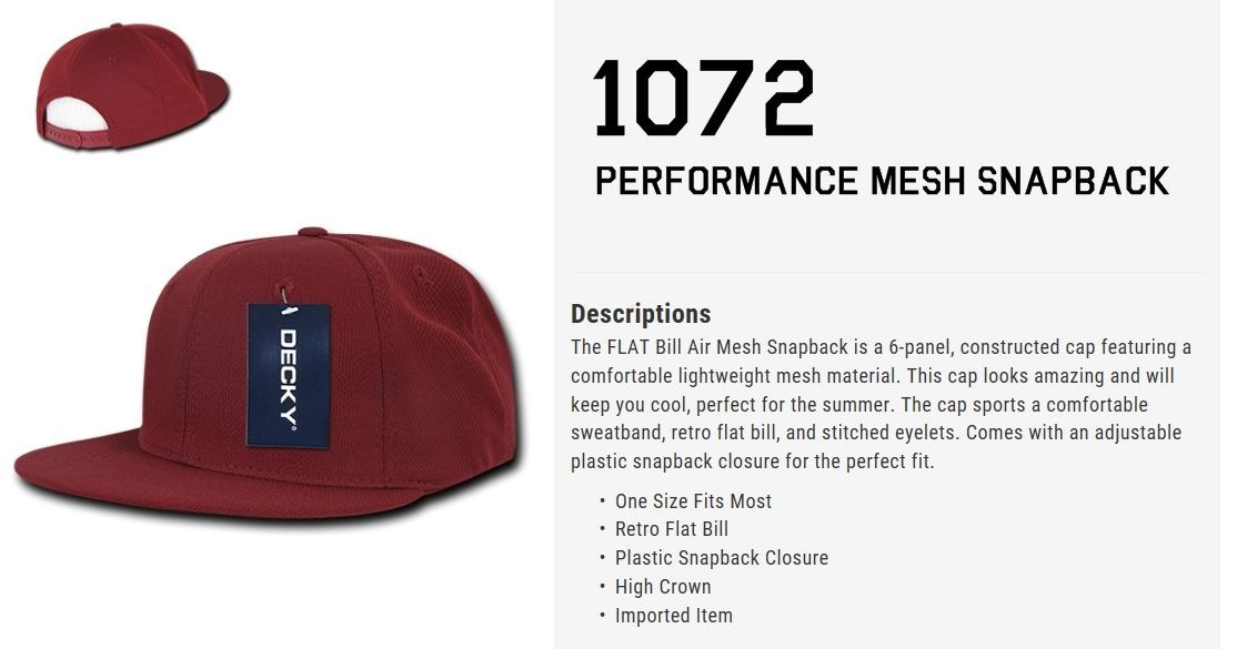 CUSTOM EMBROIDERY Personalized Customized Decky Performance Mesh Snapback 1072