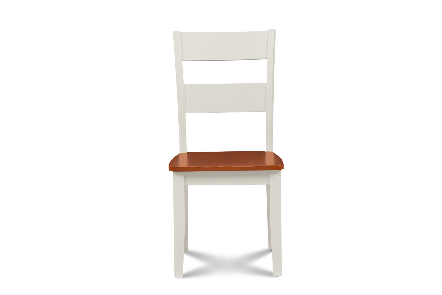 SET OF 2 KITCHEN DINING SIDE CHAIRS w/ WOODEN SEAT IN WHITE CHERRY