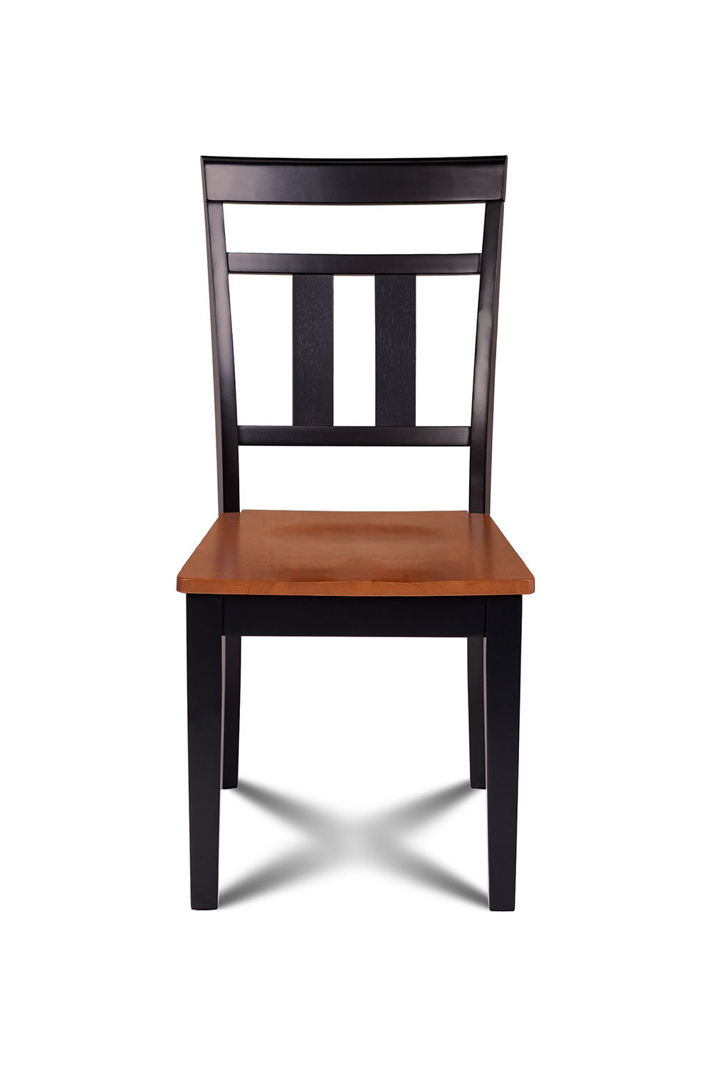 SET OF 2 KITCHEN DINING SIDE CHAIRS w/ WOODEN SEAT IN  BLACK CHERRY