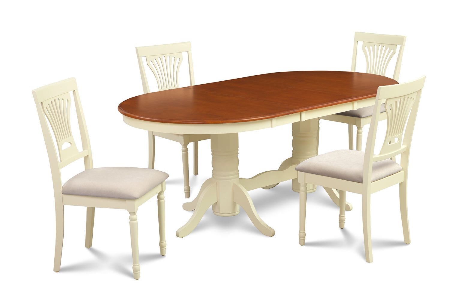 "DINETTE DINING ROOM TABLE SET 42""X78"" W. SOFT-PADDED SEAT IN BUTTERMILK & CHERRY"