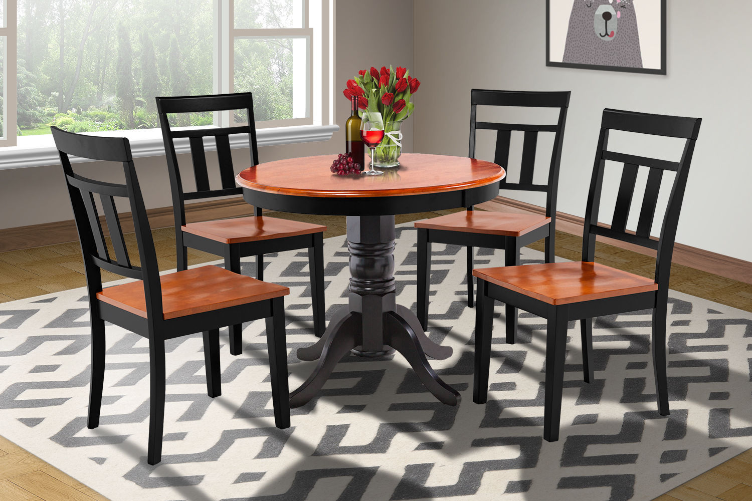 SET OF 6 KITCHEN DINING SIDE CHAIRS w/ WOODEN SEAT IN  BLACK CHERRY
