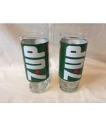 Vtg Glass 7 Up Wet Wild Glasses Set of 2 Pedastal Base - $7.85