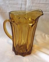 Vtg 70's Amber Glass Juice Beer Pitcher  - $10.70