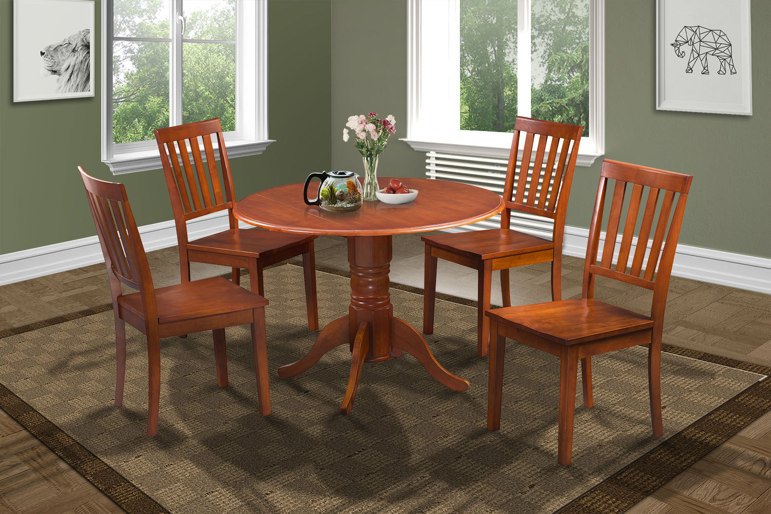 SET OF 4 MOCHA KITCHEN DINING CHAIRS WITH WOODEN SEAT IN SADDLE BROWN