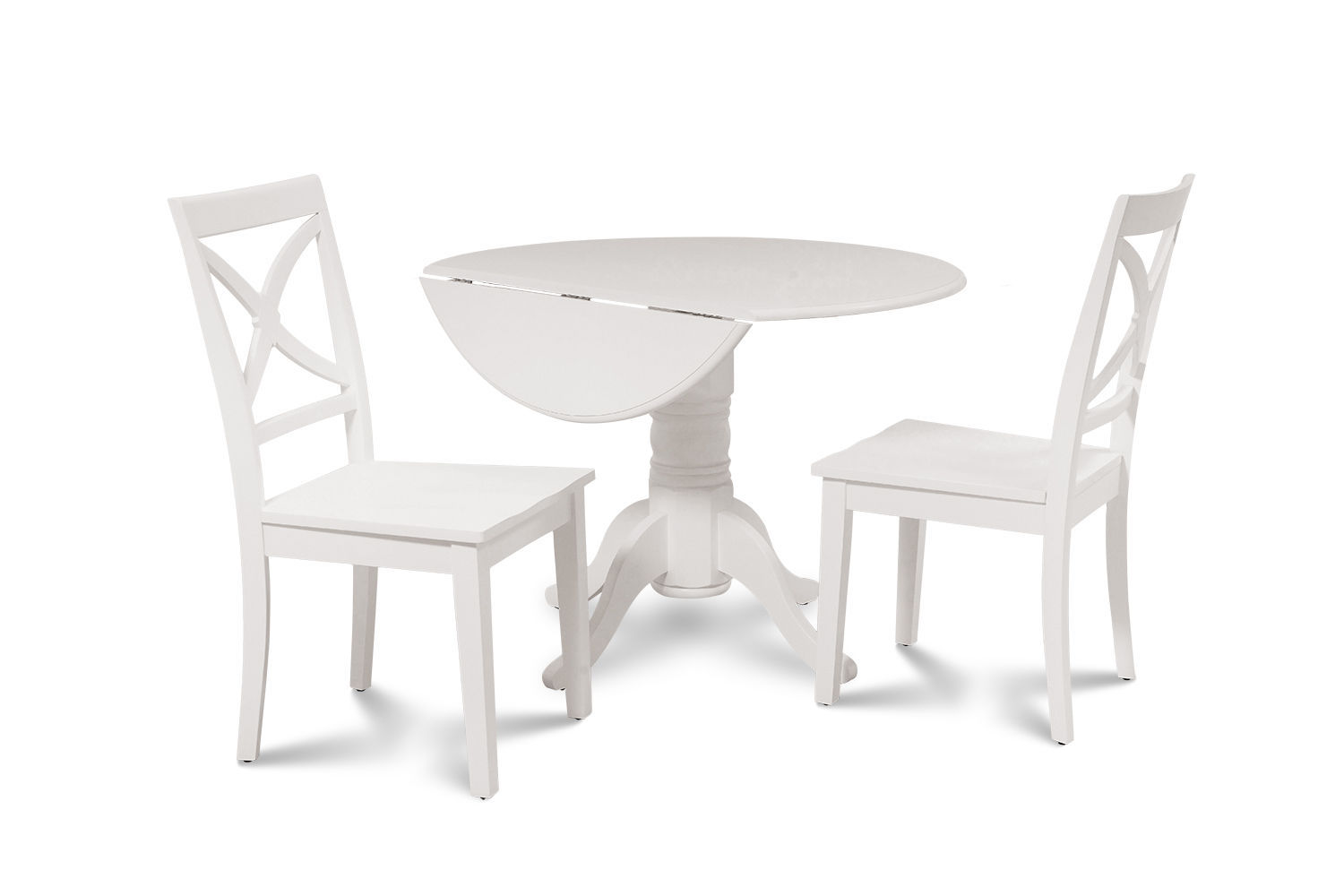 3 PIECE ROUND DINETTE KITCHEN TABLE SET WITH 2 PLAIN WOOD SEAT CHAIRS IN WHITE