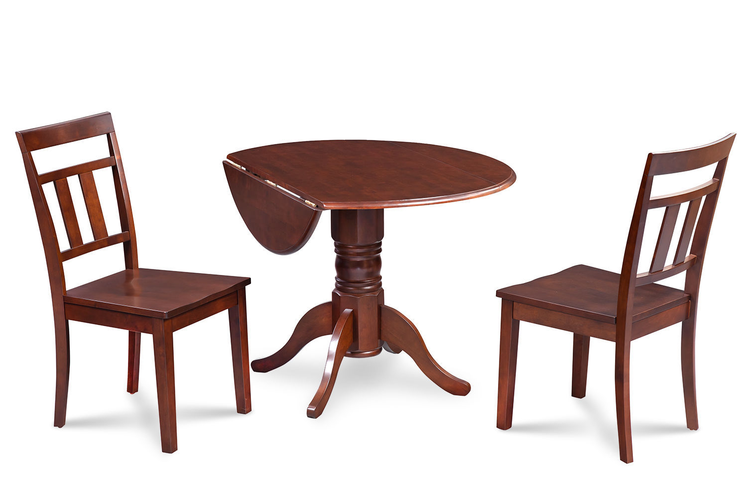 """3PC or 5PC  42"""" ROUND DUBLIN  DINETTE DINING TABLE SET WOOD SEAT CHAIR MAHOGANY"""