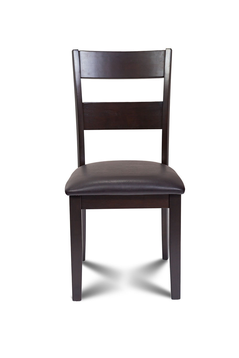SET OF 4 KITCHEN DINING SIDE CHAIRS w/. FAUX LEATHER SEAT IN CAPPUCCINO