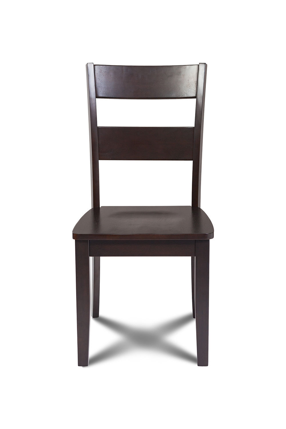 SET OF 2 KITCHEN DINING SIDE CHAIRS w/ WOODEN SEAT IN CAPPUCCINO