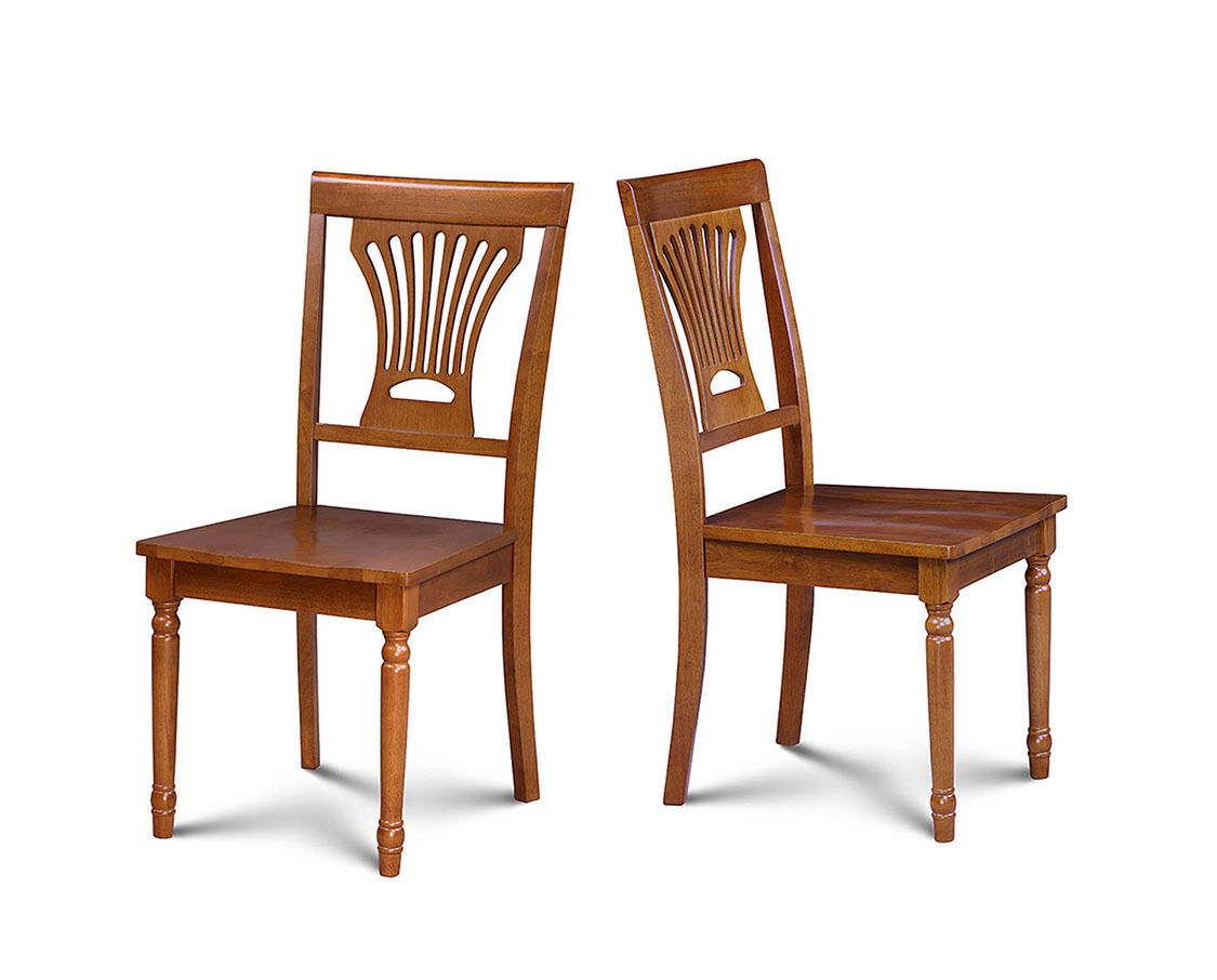 SET OF 4 DINING KITCHEN WOOD SEAT SIDE CHAIR IN SADDLE  BROWN