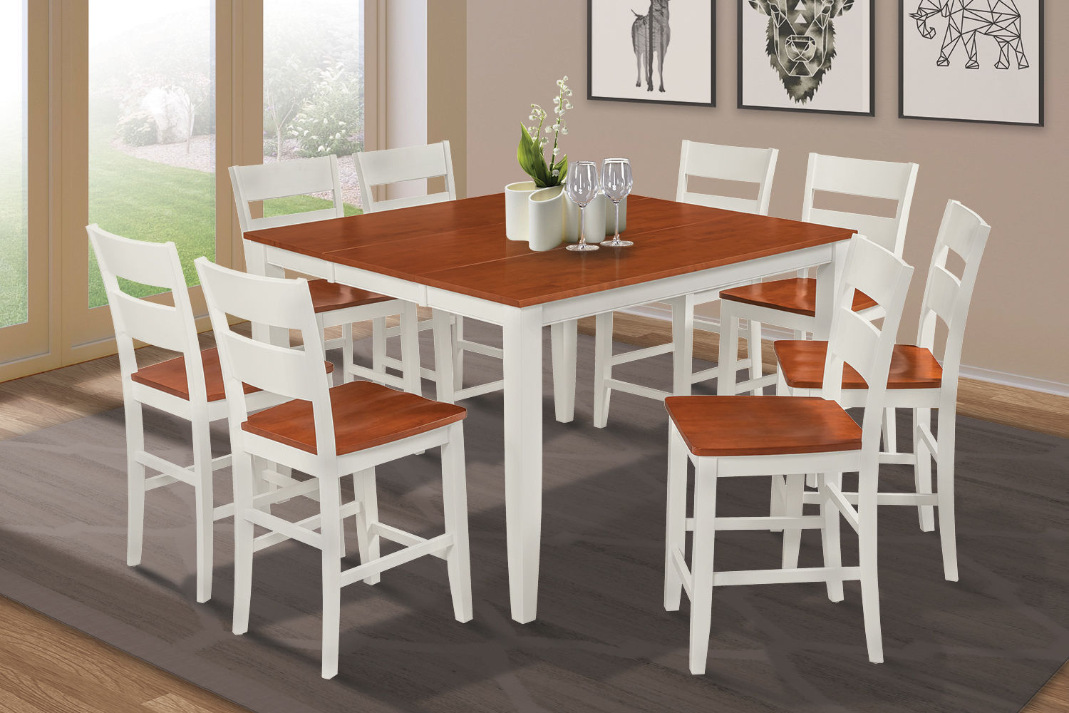 """54"""" SQUARE COUNTER HEIGHT TABLE DINING ROOM SET W. 18"""" LEAF IN WHITE CHERRY"""