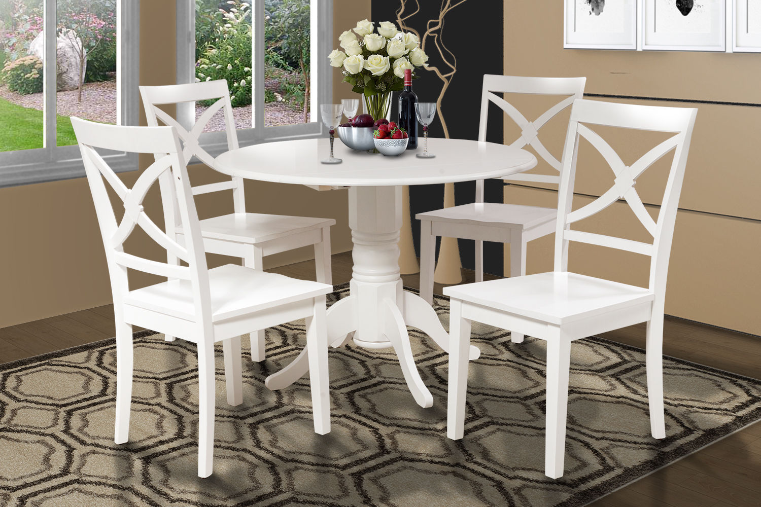 5 PIECE DINETTE KITCHEN TABLE SET WITH 4 PLAIN WOOD SEAT CHAIRS IN WHITE