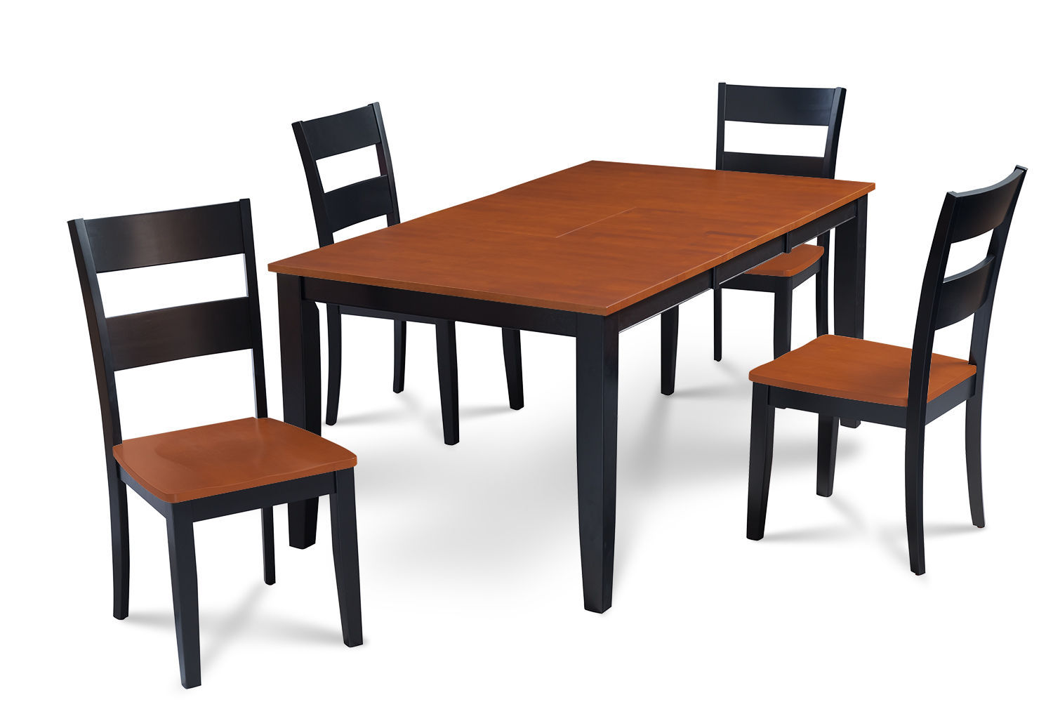 """RECTANGULAR DINING ROOM SET WITH 18"""" LEAF WOOD SEAT CHAIRS IN BLACK & CHERRY"""