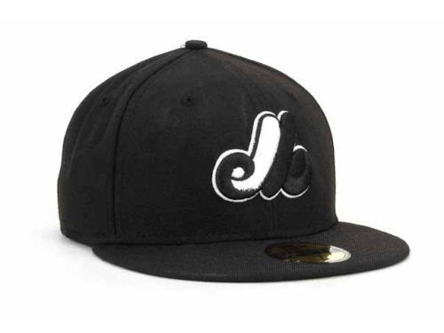 New Era 59Fifty MLB Montreal Expos Black and White Fitted Cap