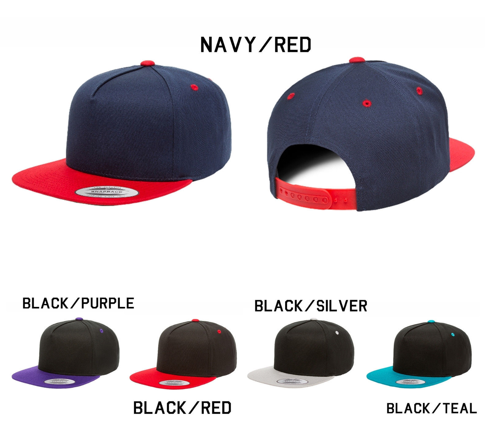 CUSTOM EMBROIDERY Personalized Customized Yupoong 2-Tone Snapback Cap Hat 6007T