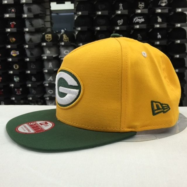 New Era 9FIFTY Green Bay Packers Yellow Green Adjustable Snpaback #11024