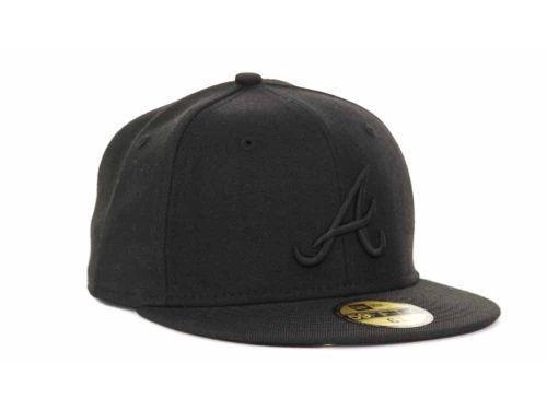 New Era 59Fifty MLB Atlanta Braves Black on Black Fitted Cap