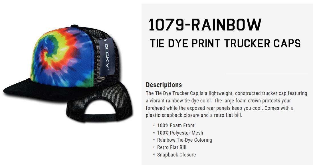 DECKY Rainbow Tie Dye Print Foam Mesh Trucker Cap Caps Hat Hats Snapback 1079