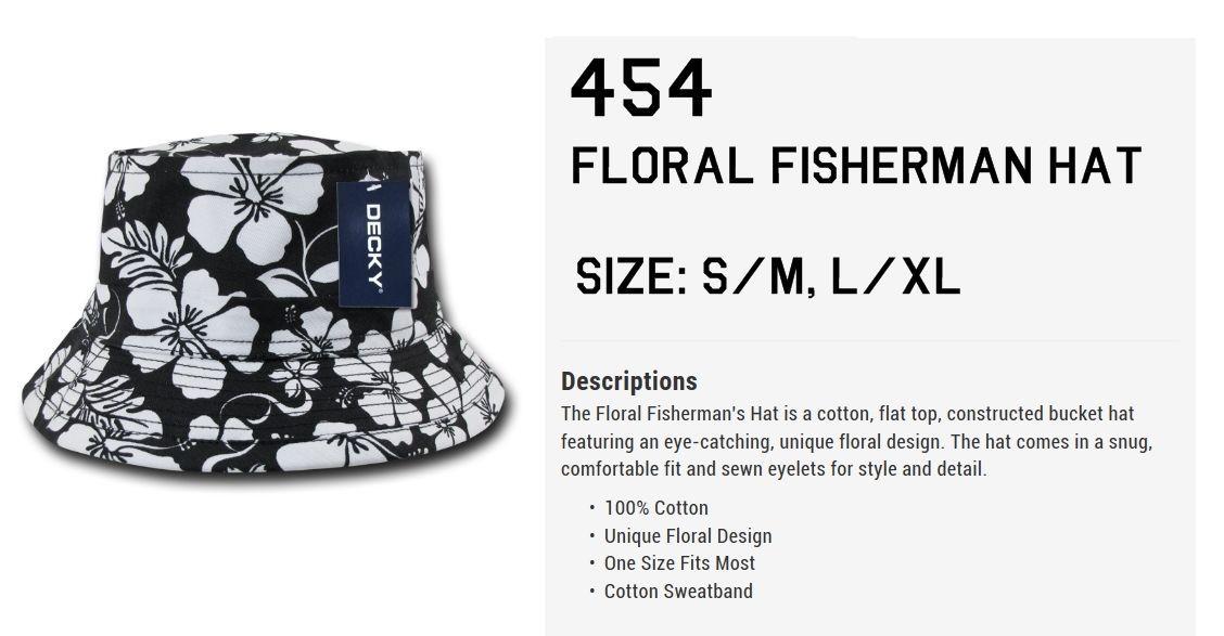 DECKY Floral Brim Fisherman's Bucket Beach Hat Hats 454 456