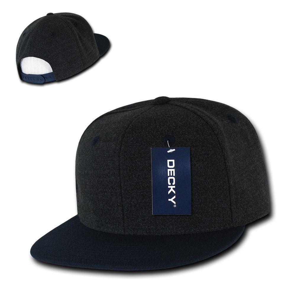 DECKY 6-Panel Wool Charcoal Melton Crown Two Tone Snapback Cap Hat 1087