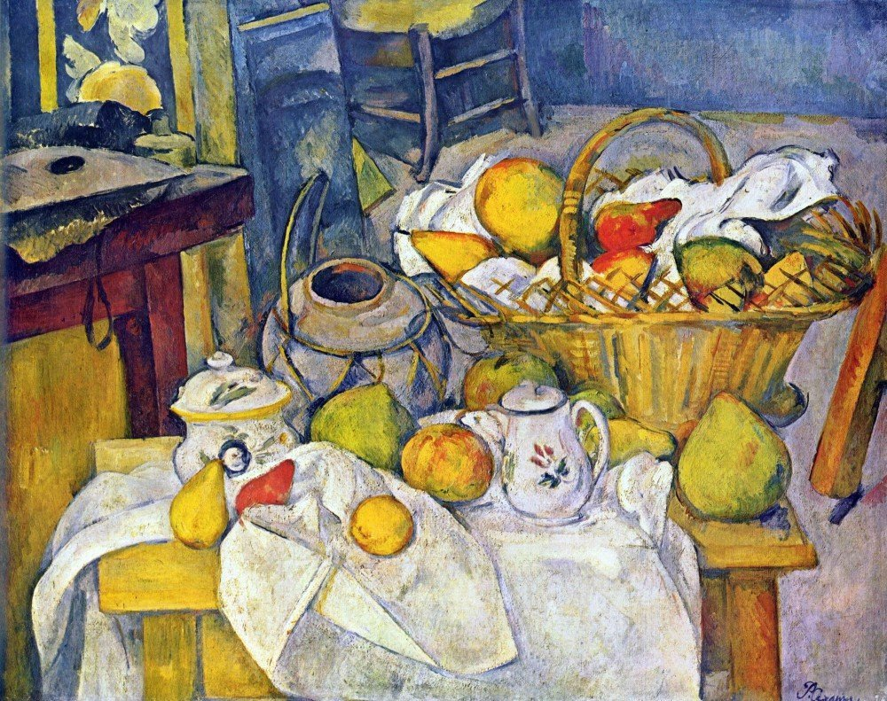 100% Hand Painted Oil on Canvas - Still Life with Fruit Basket by Cezanne - 3...