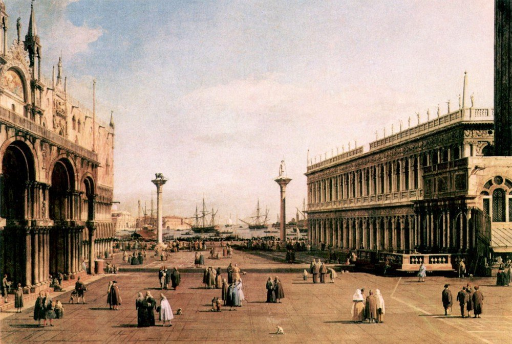 100% Hand Painted Oil on Canvas - La Piazza by Canaletto - 30x40 Inch