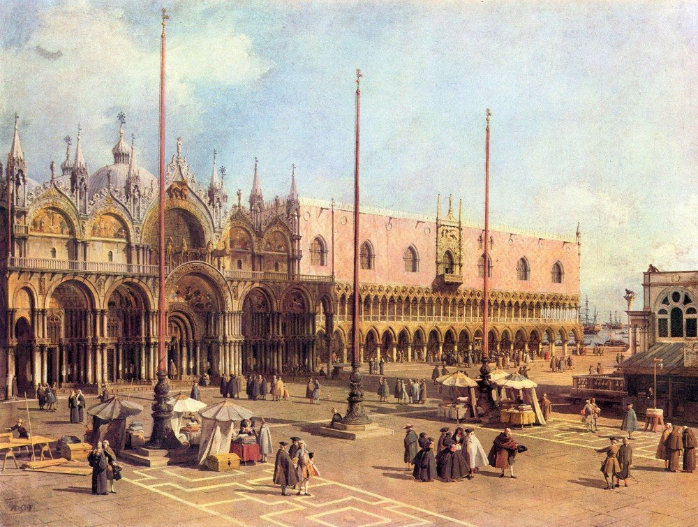 100% Hand Painted Oil on Canvas - La Piazza San Marco by Canaletto - 30x40 Inch