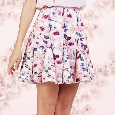 LAUREN CONRAD RUNWAY flirty godet whisper pink floral scuba skirt 10(M)12(L) NEW