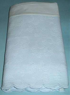 Sferra ALICE Twin Bed Skirt Lt Blue Egyptian Cotton Matelasse Scalloped Edge New