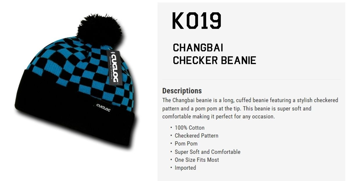 CUSTOM EMBROIDERY Personalized Customized Decky Changbai Checker Beanie k019